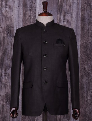Plain black terry rayon claasic jodhpuri suit