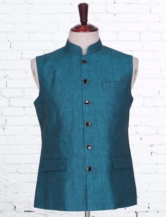 Plain blue cotton linen waistcoat