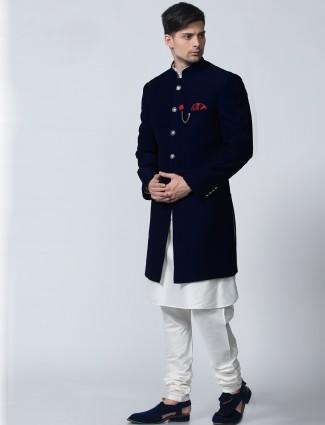 Plain navy festive wear terry rayon indo western
