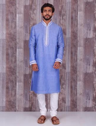 Plain blue linen festive wear kurta suit