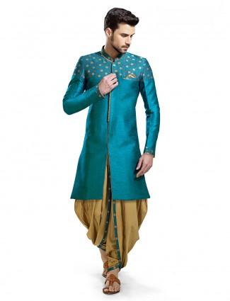 Plain blue silk wedding wear kurta suit