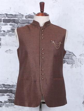 Plain brown terry rayon festive wear waistcoat