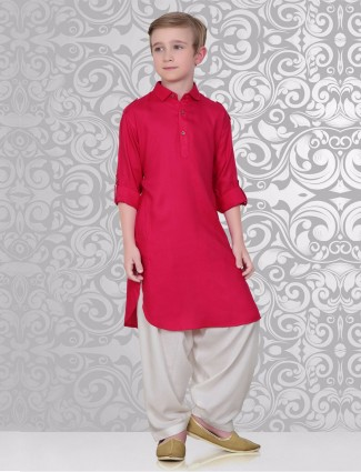 Plain classy magenta cotton pathani suit