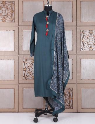 Plain cotton green salwar suit
