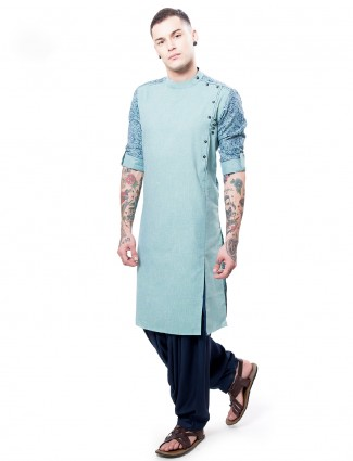 Plain cotton sea green kurta suit