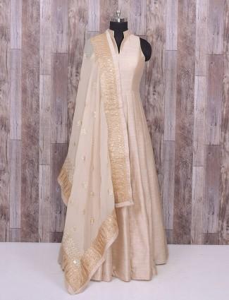 Plain cream raw silk anarkali suit