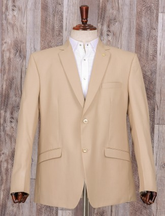 Plain cream terry rayon coat suit