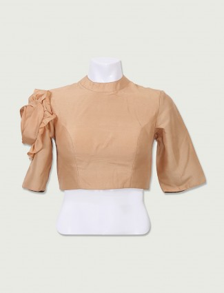 Plain designer beige color ready made blouse