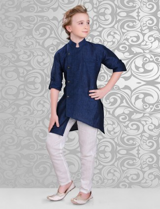 Plain designer navy kurta suit