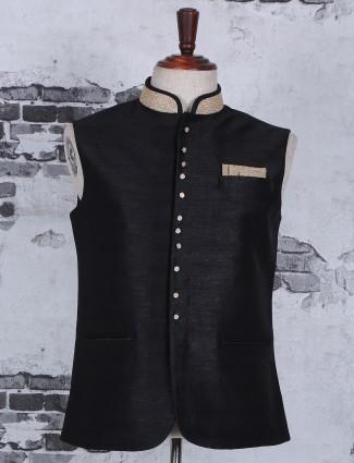 Plain dressy festive wear black silk waistcoat