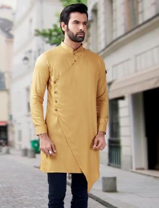 Plain fancy designer yellow short pathani kurta
