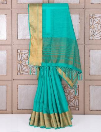 Plain green festive wear bhagalpuri silk saree