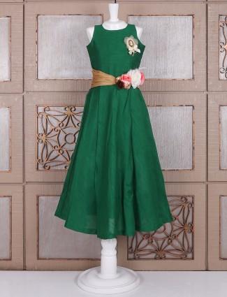 Plain green silk gown