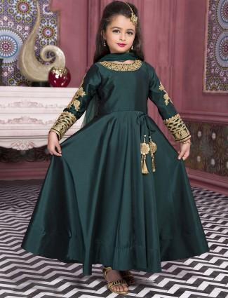 Plain green silk party wear anarkali suit
