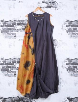 Plain grey silk festive wear kurti