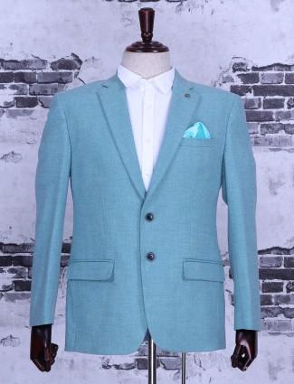 Plain light green terry rayon blazer