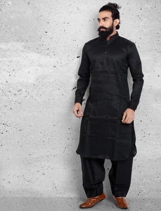 Plain linen black pathani suit