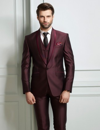 Plain maroon terry rayon coat suit