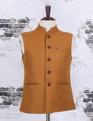 Plain mustard yellow color waistcoat