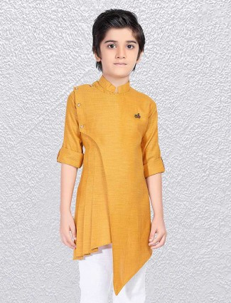 Plain mustard yellow short kurta