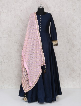Plain navy color raw silk anarkali suit