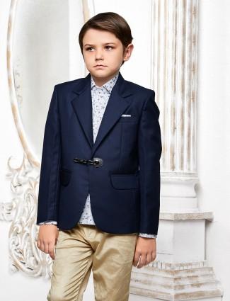 Plain navy color terry rayon blazer