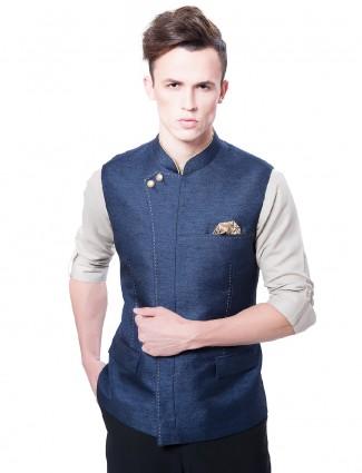 Plain navy color terry rayon waistcoat