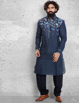 Plain navy cotton pathani suit