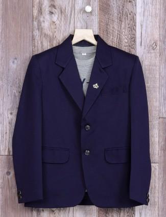 Plain navy dressy terry rayon blazer