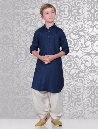 Plain navy festive wear cotton pathani suit