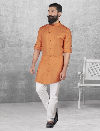 Plain orange color linen kurta suit