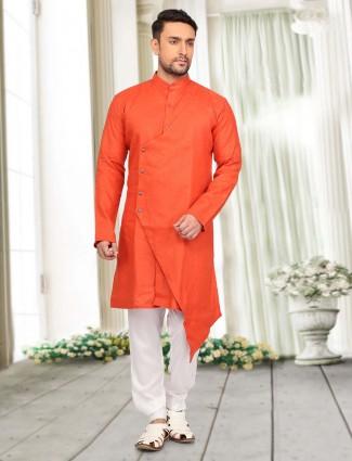 Plain orange cotton pathani suit