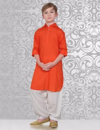 Plain orange festive wear pathani suit