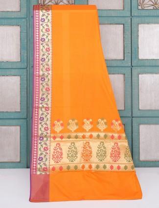 Plain orange semi silk saree