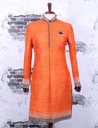 Plain orange silk wedding wear indo western