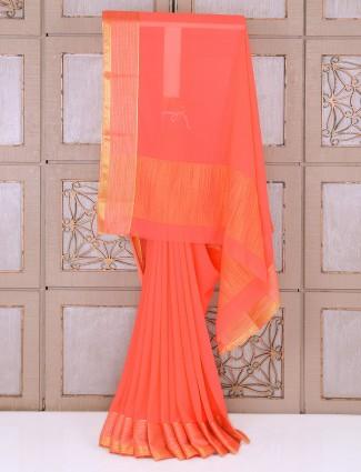 Plain peach color chiffon saree