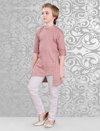 Plain peach cotton festive wear kurta suit