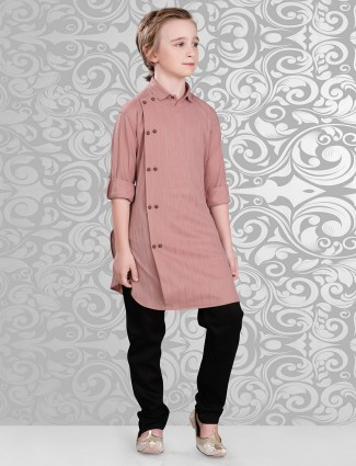 Plain peach festive wear kurta suit