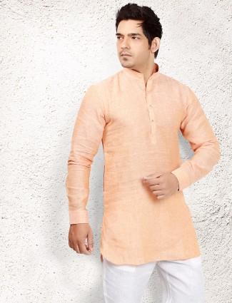 Plain peach linen pathani suit
