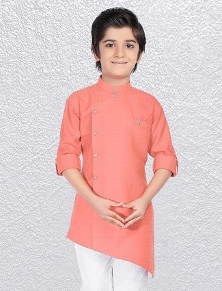 Plain pink boys cotton short kurta