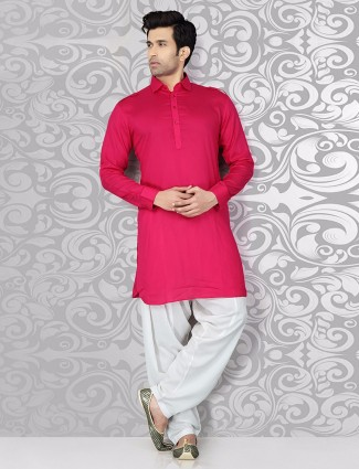 Plain pink festive wear pathani suit
