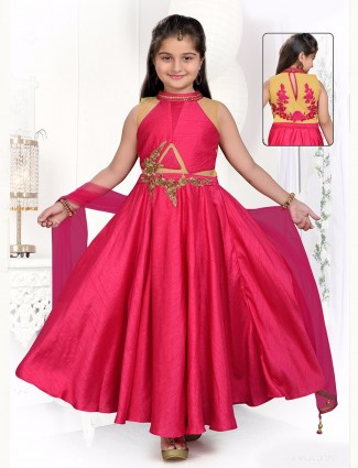 Plain pink party wear silk anarkali suit