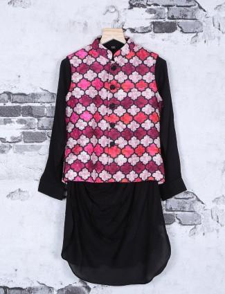 Plain printed pink and black hue waistcoat set