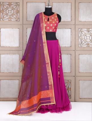 Plain purple party wear lehenga choli