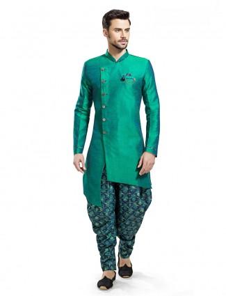 Plain raw silk designer green kurta suit