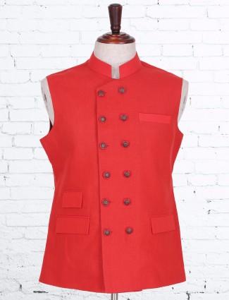 Plain red designer cotton linen waistcoat
