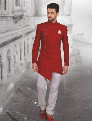 plain red hue designer silk indo western