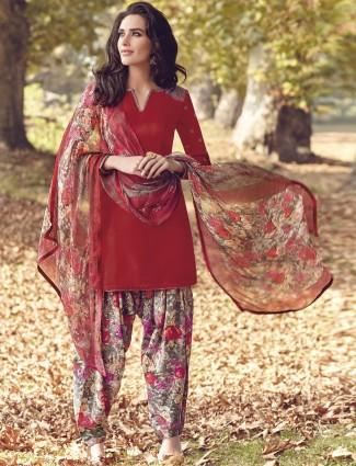 Plain red ready made festive wear pashmina salwar suit