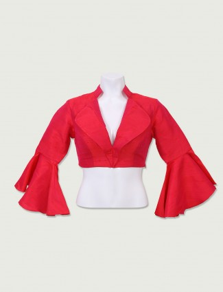 Plain red readymade blouse