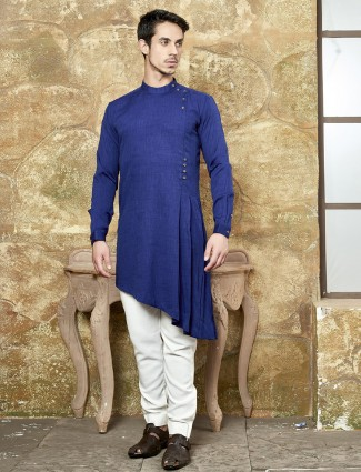 Plain royal blue festive kurta suit